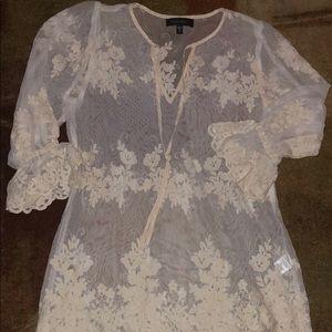 Karen Kane Sheer Lace Shirt 👚